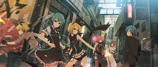 Tags: Anime, MONQ, VOCALOID, Megurine Luka, Hatsune Miku, KAITO, Kagamine Len, Kagamine Rin, MEIKO (VOCALOID), Polyphonic Branch, Fanart, Fanart From Pixiv, Facebook Cover, Tokyo Cyber Detective Brigade