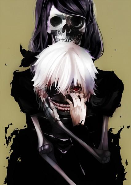 Tags: Anime, Pixiv Id 6724998, Tokyo Ghoul, Kaneki Ken, Kamishiro Rize, Pixiv, Fanart, Mobile Wallpaper, Fanart From Pixiv