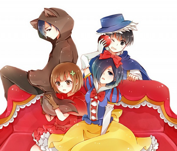 Tags: Anime, Pixiv Id 2943202, Tokyo Ghoul, Kaneki Ken, Kirishima Touka, Fueguchi Hinami, Kirishima Ayato, Red Riding Hood (Cosplay), Snow White (Cosplay), Big Bad Wolf (Cosplay), Fanart From Pixiv, Pixiv, Fanart