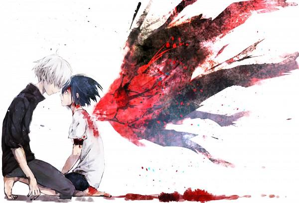 Tags: Anime, Shokumura, Tokyo Ghoul, Kaneki Ken, Kirishima Touka, Forehead Against Forehead, PNG Conversion, Pixiv, Fanart, Fanart From Pixiv