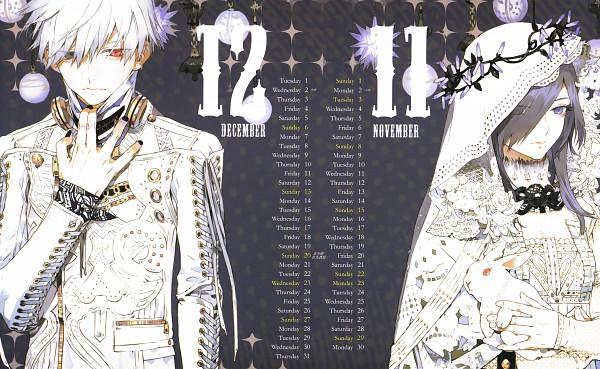 Tags: Anime, Nishihara Isao, Tokyo Ghoul, Tokyo Ghoul 2015 Special Illustration Calendar, Kaneki Ken, Kirishima Touka, Toukaken, Wallpaper, Calendar (Source), Calendar 2015, Official Art, Scan