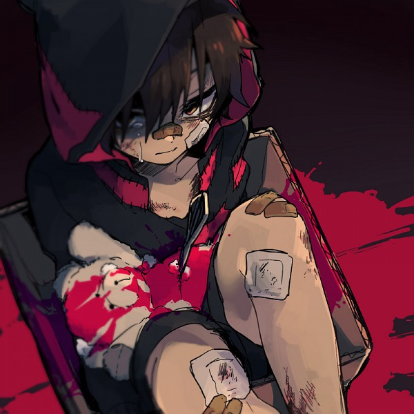 Tags: Anime, Sidu, Fan Character, Cotton, Bruise, Unusual Colored Blood, Patch On The Nose, In a Box, PNG Conversion, Tumblr, Tokyo Teddy Bear