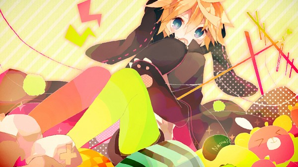 Tags: Anime, Miwasiba, VOCALOID, Kagamine Len, Antenna (Technology), Lightning Bolt (Symbol), Fanart, Facebook Cover, Fanart From Pixiv, Toluthin Antenna, Pixiv