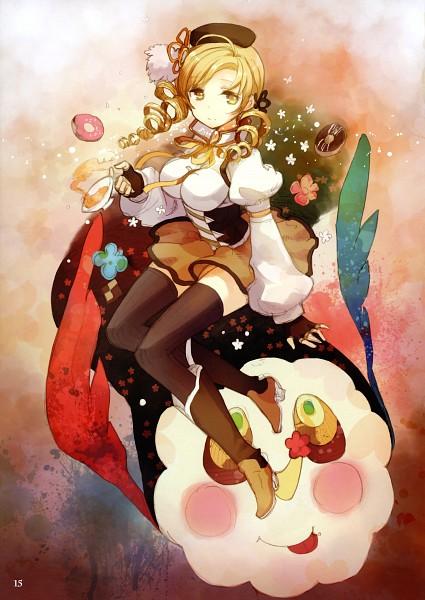 Tags: Anime, H2SO4, Mahou Shoujo Madoka☆Magica, life of negentropy, Charlotte (Madoka Magica), Tomoe Mami, Mobile Wallpaper, Scan, Fanart