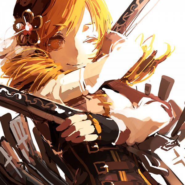 Tags: Anime, lemontea, Mahou Shoujo Madoka☆Magica, Tomoe Mami, Yellow Outerwear, Gun Gesture, PNG Conversion, Fanart, Fanart From Pixiv, Pixiv