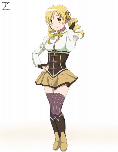 Tags: Anime, Pixiv Id 36257482, Mahou Shoujo Madoka☆Magica, Tomoe Mami, Purple Legwear, Pixiv, Fanart, Fanart From Pixiv