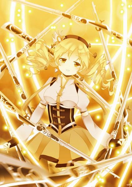 Tags: Anime, Yuhke, Pixiv Id 1080903, Mahou Shoujo Madoka☆Magica, Tomoe Mami, Shotgun, Mobile Wallpaper, Pixiv, Fanart