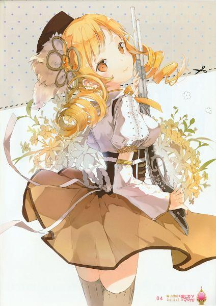 Tags: Anime, Anmi, Mahou Shoujo Madoka☆Magica, Rensei Magi☆Majika? Majika!, Tomoe Mami, Shotgun, Mobile Wallpaper, Scan