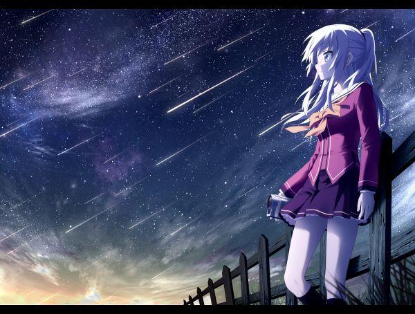 Tags: Anime, Haribote (Tarao), Charlotte (Series), Tomori Nao, Shooting Stars, PNG Conversion, Fanart
