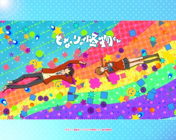 Tags: Anime, Robiko, Tonari no Kaibutsu-kun, Mizutani Shizuku, Yoshida Haru, Square, Wallpaper, Official Art, Official Wallpaper, The Monster Next To Me