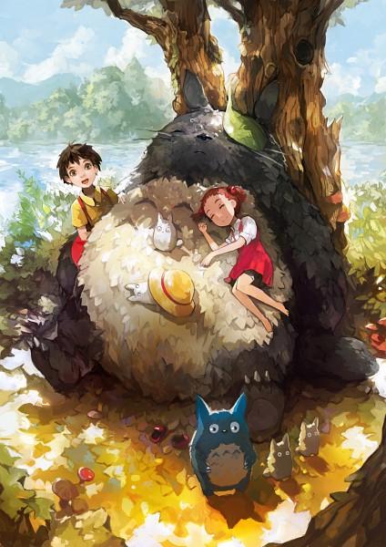Tags: Anime, Alchemaniac, Tonari no Totoro, Kusakabe Satsuki, Chu-totoro, Totoro, Kusakabe Mei, Mobile Wallpaper, Fanart, My Neighbor Totoro