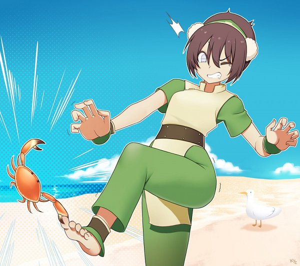 Tags: Anime, Pixiv Id 1842545, Avatar: The Last Airbender, Toph Bei Fong, Stomping, Crab, Blind, Seagull, Fanart