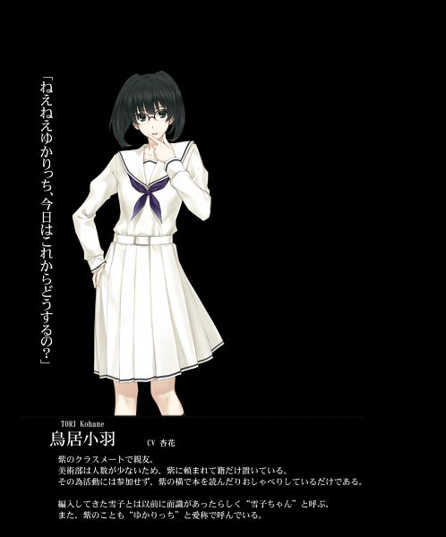 Tags: Anime, Sugina Miki, Innocent Grey, Kara no Shoujo 2, Tori Kohane, Official Character Information, Official Art