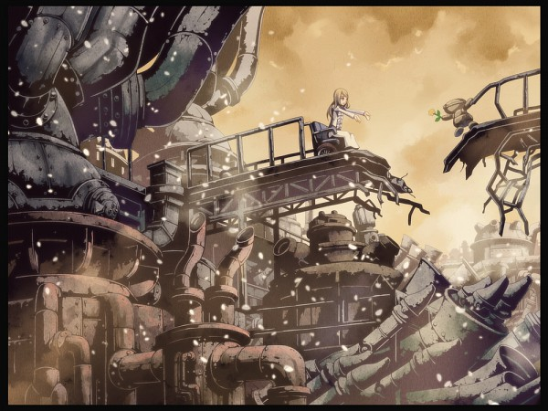 Tags: Anime, Torigoe Takumi, Bridge, Wheelchair, Otacool, Industrial, Steampunk, Pixiv, Original