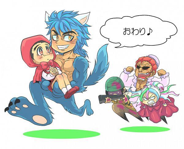 Tags: Anime, Pixiv Id 160118, Toriko, Toriko (Character), Komatsu (Toriko), Coco (Toriko), Zebra (Toriko), Sani (Toriko), Red Riding Hood (Cosplay), Chasing, Big Bad Wolf (Cosplay), Pixiv, Fanart