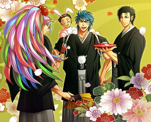 Tags: Anime, Pixiv Id 762981, Toriko, Sani (Toriko), Toriko (Character), Komatsu (Toriko), Coco (Toriko), Hanetsuki, Seigaiha, Sakazuki, Happy 2011, Fanart, Shitennou