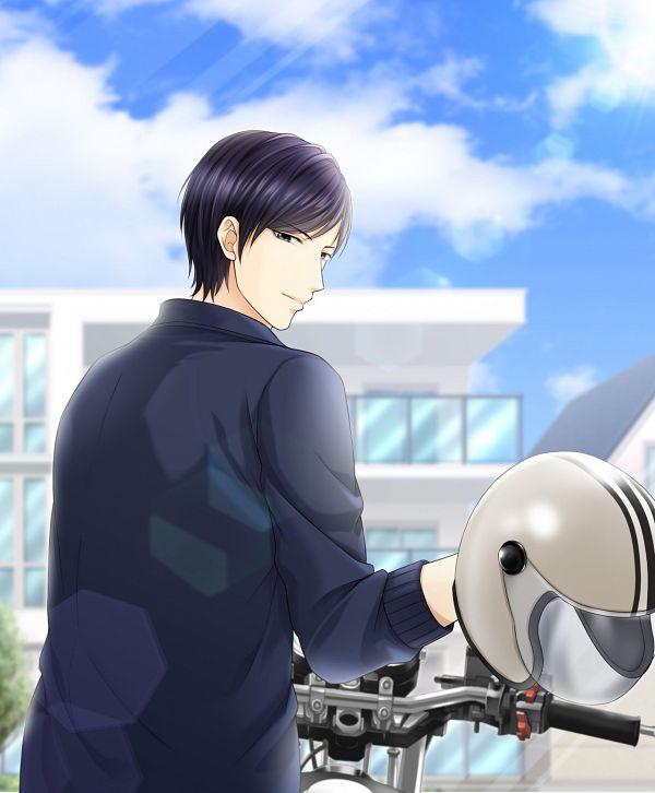 Tags: Anime, Voltage Inc. (Studio), Irresistible Mistakes, Toshiaki Kijima, Motorcycle Helmet, Blue Jacket, CG Art