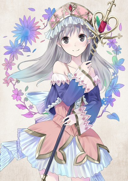 Tags: Anime, Maigo (Neko), Alchemist of Arland, Totooria Helmold, Scepter, Dark Colors, Mobile Wallpaper