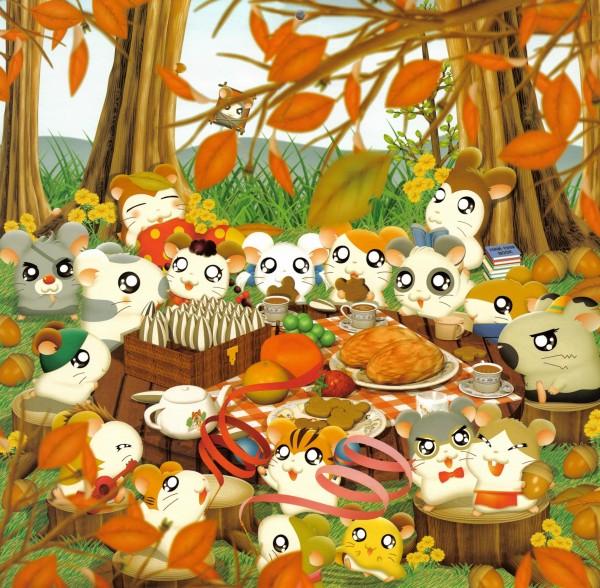 Tags: Anime, Tottoko Hamtarou, Koushi-kun (Tottoko Hamtarou), Ribbon-chan (Tottoko Hamtarou), Hamtarou (Character), Sunflower Seeds, Picnic, Acorn, Hamster, Thanksgiving