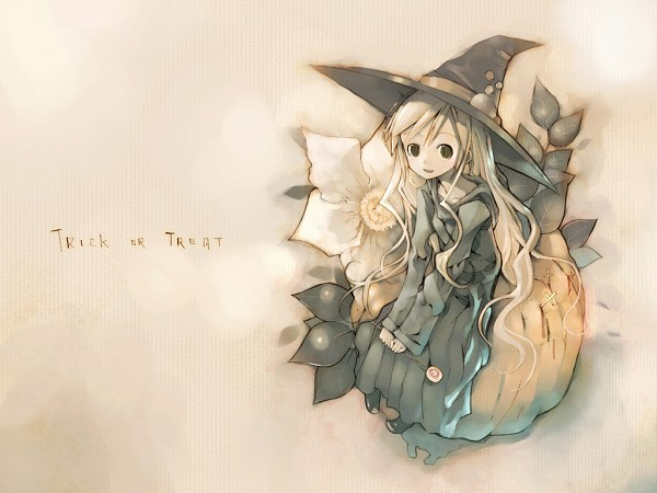 Tags: Anime, KEI (Pixiv4088), Maria-sama ga Miteru, Toudou Shimako, Sitting On Pumpkin, Text: Trick Or Treat, Wallpaper