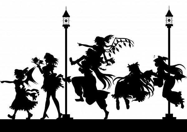 Tags: Anime, Kitazinger, Touhou, The Embodiment of Scarlet Devil, Remilia Scarlet, Hong Meiling, Flandre Scarlet, Patchouli Knowledge, Izayoi Sakuya, Koakuma