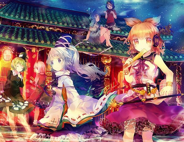 Tags: Anime, Namie-kun, Touhou, Ten Desires, Mononobe no Futo, Toyosatomimi no Miko, Kaku Seiga, Konpaku Youmu, Miyako Yoshika, Soga no Tojiko, Rod, Ritual Baton, Shrine