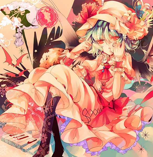 Tags: Anime, Kirero, Touhou, Izayoi Sakuya, Remilia Scarlet, Laced Up, Piano Keys, Hair In Mouth, Abstract Background, Fanart, PNG Conversion