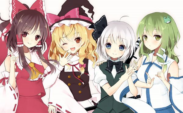 Tags: Anime, Purin Jiisan, Ten Desires, Touhou, Kirisame Marisa, Hakurei Reimu, Kochiya Sanae, Konpaku Youmu, Green Vest, Pixiv, Fanart