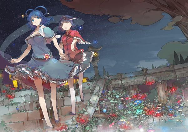 Tags: Anime, Sakura Sora, Touhou, Miyako Yoshika, Kaku Seiga, Shawl, PNG Conversion