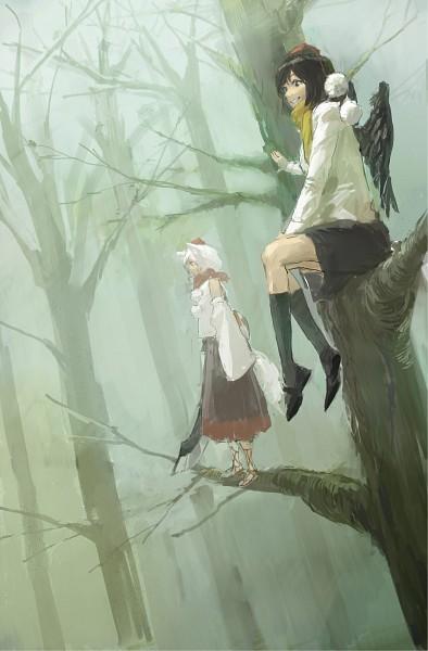 Tags: Anime, Pixiv Id 641696, Touhou, Shameimaru Aya, Inubashiri Momiji, Mobile Wallpaper, Fanart, Pixiv