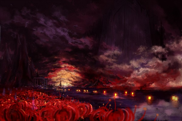 Tags: Anime, C.Z., Phantasmagoria of Flower View, Touhou, Higan, Gate, Fanart From Pixiv, Fanart, Pixiv, Wallpaper