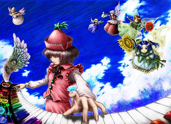 Tags: Anime, Pixiv Id 117512, Touhou, Lily White, Lyrica Prismriver, Sunflower Fairy, Lily Of The Valley