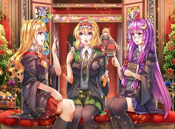 Tags: Anime, Vetina, Touhou, Shanghai, Patchouli Knowledge, Alice Margatroid, Kirisame Marisa, Test Tube, Harry Potter (Cosplay), PNG Conversion, Slytherin House, Ravenclaw House, Gryffindor House