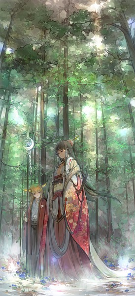 Tags: Anime, Sakura Sora, Touhou, Hakurei Reimu, Ibuki Suika, Fanart From Pixiv, Fanart, Pixiv