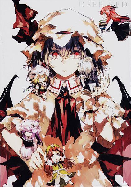 Tags: Anime, Minakata Sunao, DEEP RED, Touhou, Hong Meiling, Remilia Scarlet, Flandre Scarlet, Patchouli Knowledge, Koakuma, Izayoi Sakuya, Mobile Wallpaper, Scan