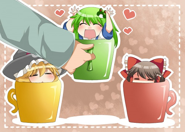 Tags: Anime, Hammer (Sunset Beach), Touhou, Kochiya Sanae, Kirisame Marisa, Hakurei Reimu, Jealousy, = =