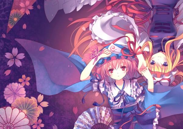 Tags: Anime, RiE (Pixiv400684), Touhou, Saigyouji Yuyuko, Yakumo Yukari, Goshoguruma, Shippou (Pattern)
