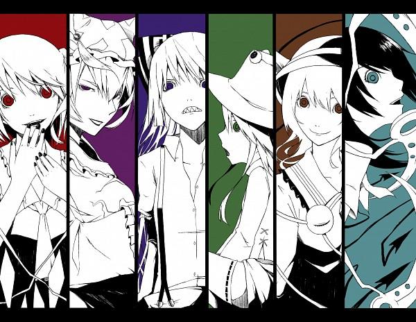 Tags: Anime, Haruba Negi, Touhou, Komeiji Koishi, Moriya Suwako, Houjuu Nue, Flandre Scarlet, Yakumo Ran, Fujiwara no Mokou, Fanart, Pixiv, Fanart From Pixiv