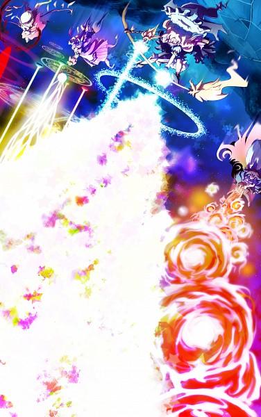 Tags: Anime, Kage Houshi, Touhou, Patchouli Knowledge, Kirisame Marisa, Reiuji Utsuho, Flandre Scarlet, Laevatein, Philosopher's Stone (Touhou), Element, Master Spark, Mini-Hakkero