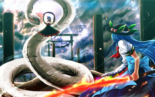 Tags: Anime, Nekominase, Touhou, Mishaguji, Hinanawi Tenshi, Yasaka Kanako, Sword of Hisou, Shimenawa, Wallpaper