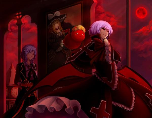Tags: Anime, Pokey-chan, Touhou, Gii, Remilia Scarlet, Kirisame Marisa, Izayoi Sakuya, Mansion, Scarlet Devil Mansion, Red Sky, Rachel Alucard (Cosplay), Red Moon, Beatrice (Cosplay)