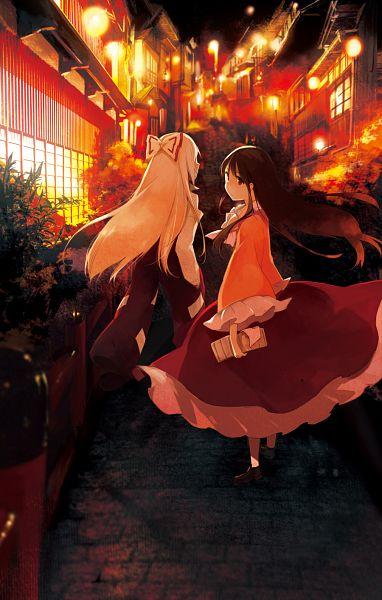 Tags: Anime, Rin (Royal), Touhou, Houraisan Kaguya, Fujiwara no Mokou, Fanart From Pixiv, Fanart, Pixiv, Mobile Wallpaper