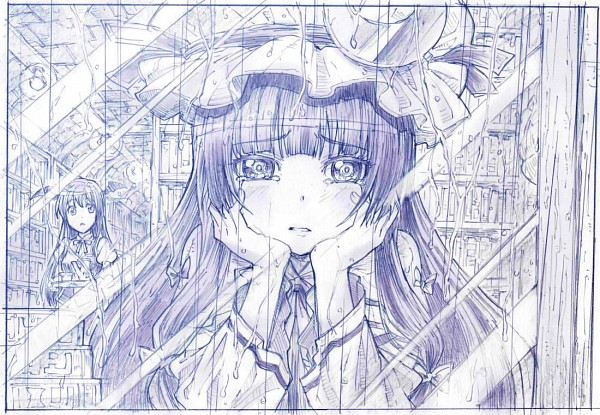 Tags: Anime, Sakino Shingetsu, Touhou, Koakuma, Patchouli Knowledge, Traditional Media, Sketch