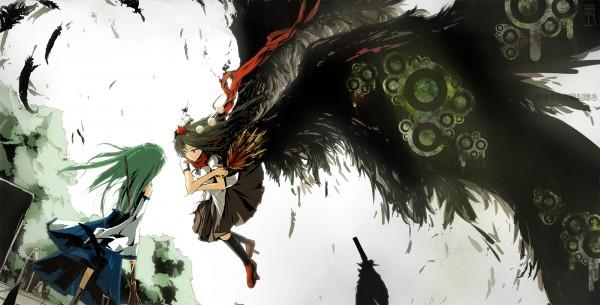 Tags: Anime, Lowlight Kirilenko, Touhou, Shameimaru Aya, Kochiya Sanae, Wallpaper, Fanart From Pixiv, Pixiv, Fanart, Facebook Cover