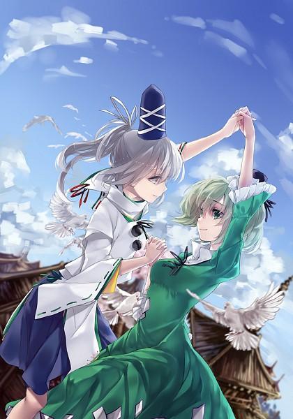Tags: Anime, HUG (yourhug), Touhou, Mononobe no Futo, Soga no Tojiko, White Bird, Fanart, Mobile Wallpaper, Fanart From Pixiv, Pixiv, FutoJiko