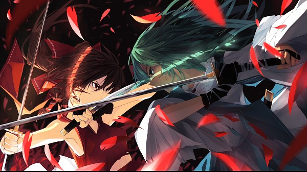 Tags: Anime, Tan (Carbon), Okiura, Touhou, Hakurei Reimu, Kochiya Sanae, Fanart From Pixiv, Fanart, Pixiv, Facebook Cover