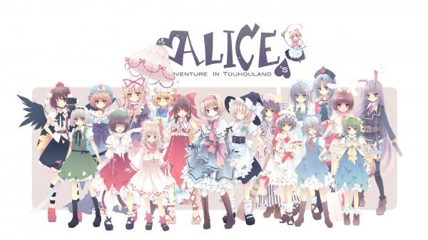 Tags: Anime, Blue Hallelujah, Alice in Wonderland, Touhou, Hakurei Reimu, Konpaku Youmu, Lily White, Alice Margatroid, Chen, Yakumo Yukari, Daiyousei, Remilia Scarlet, Yakumo Ran