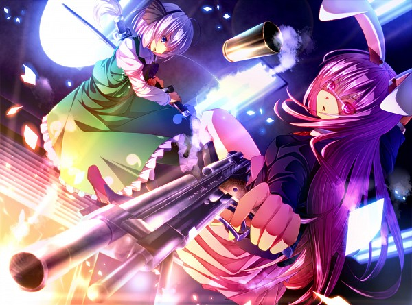 Tags: Anime, ryosios, Touhou, Reisen Udongein Inaba, Konpaku Youmu, Myon, Bullets, Pointing at Camera, Green Vest, PNG Conversion, Touhou Project