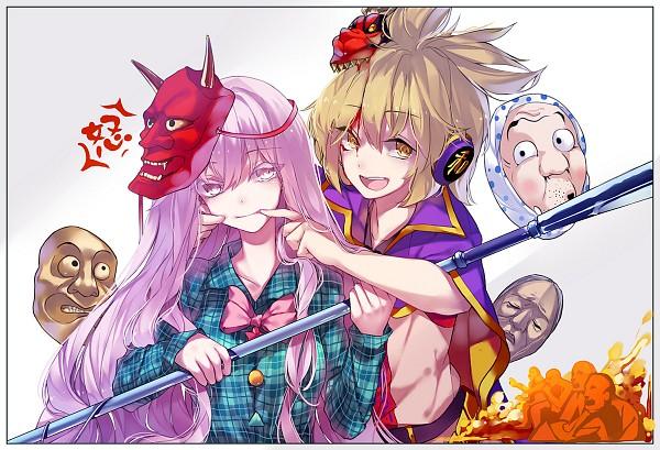 Tags: Anime, HUG (yourhug), Touhou, Hata no Kokoro, Toyosatomimi no Miko, Oni Mask, Pixiv, Fanart, Fanart From Pixiv