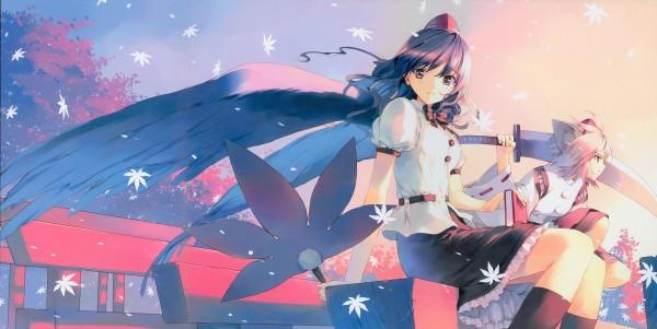 Tags: Anime, Ueda Ryou, Touhou, Shameimaru Aya, Inubashiri Momiji, Wallpaper, Facebook Cover